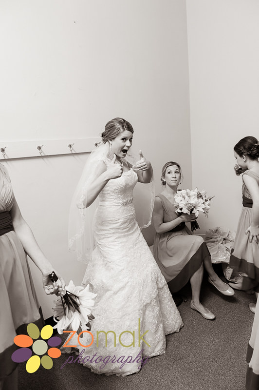 bride gives thumbs up