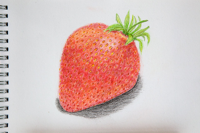strawberry, drawing, A5, colored pencils