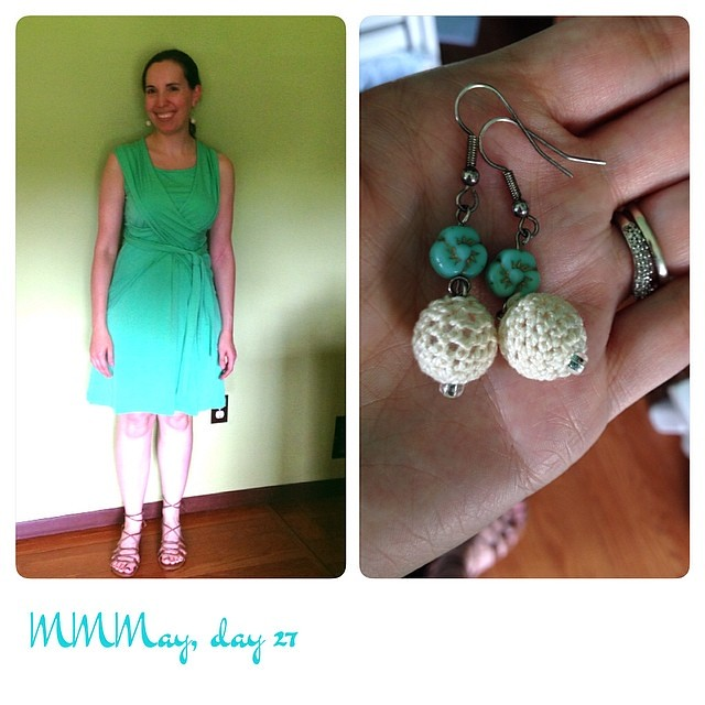 Me-made convertible dress & earrings, thrifted sandals. #mmmay14