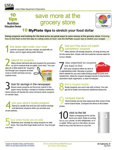 MyPlate Nutrition Education Series: Save More at the Grocery Store. (Click to enlarge).