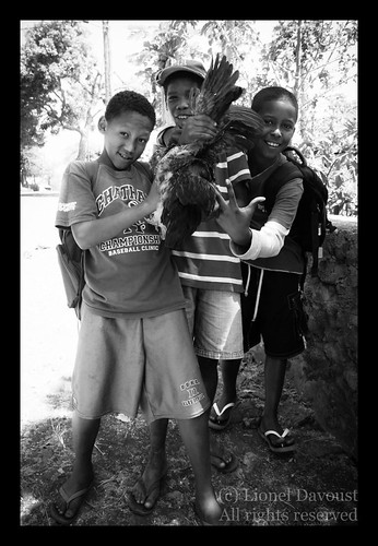 Cape Verde kids with rooster