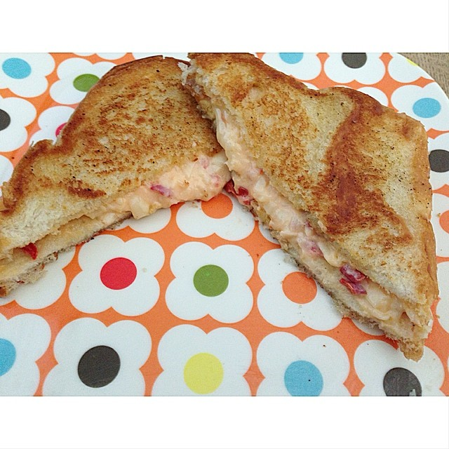 Did you ever have a grilled cheese sandwich made with homemade pimento cheese? #myfirst #yum
