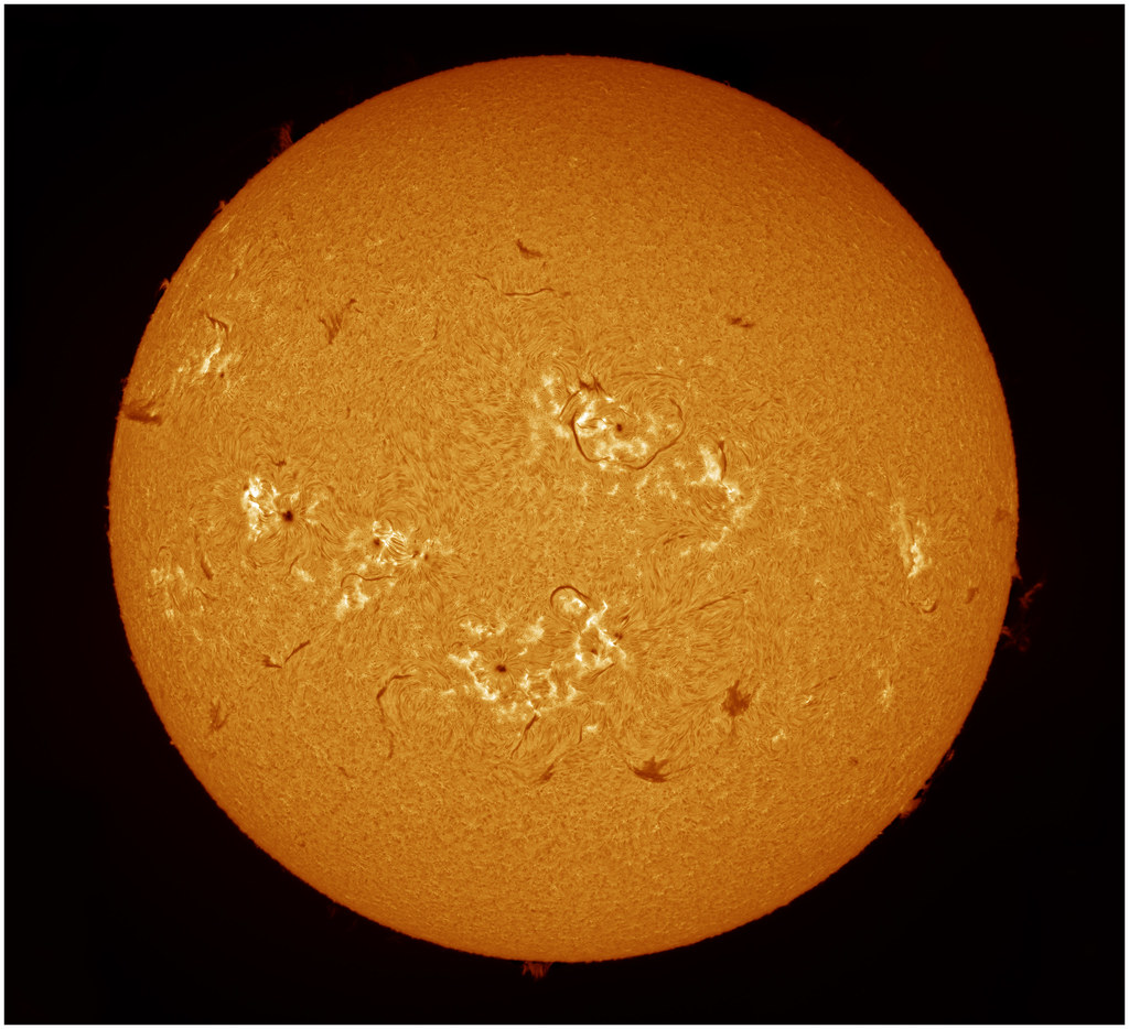 2014-07-05 full disc f colour The solar chromosphere (hydrogen alpha)