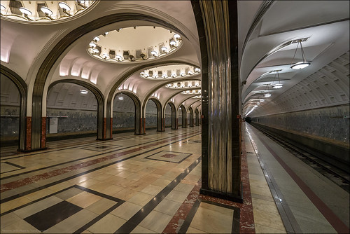 Russia. Moscow. Stantion metro Mayakovskaya.