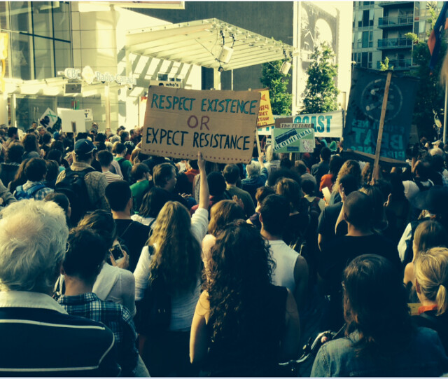 'No Means No' rally in Vancouver tonight against the Northern Gateway pipeline. Photo by Leila Darwish.