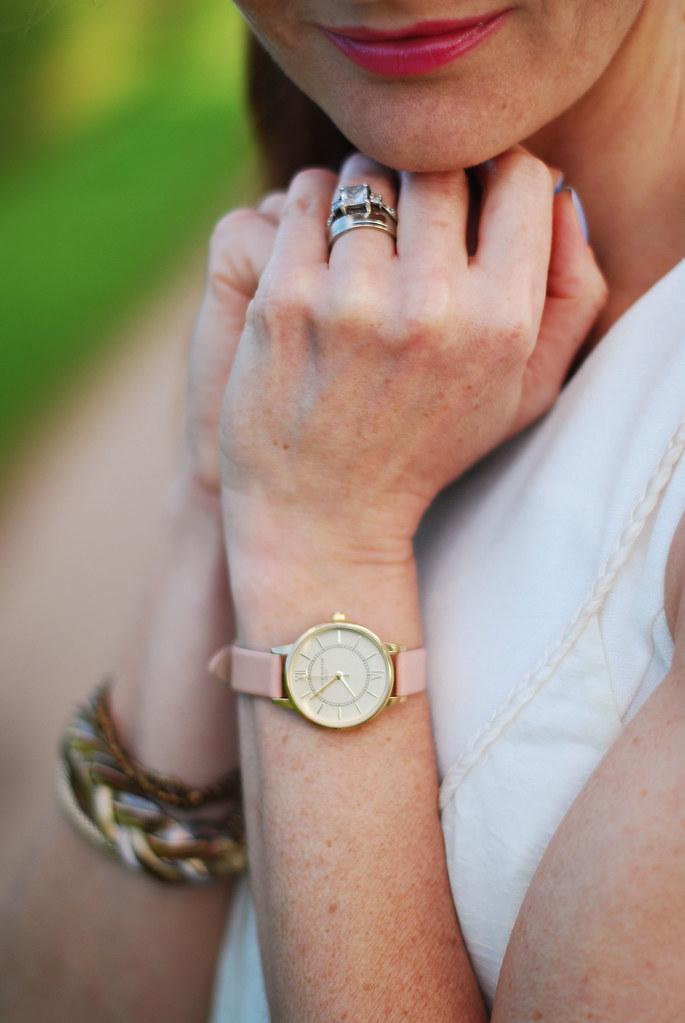 Summer whites - blush pink & gold watch