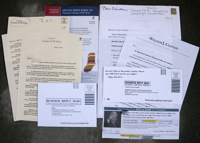 Junk mail from George W. Bush and Bill Clinton