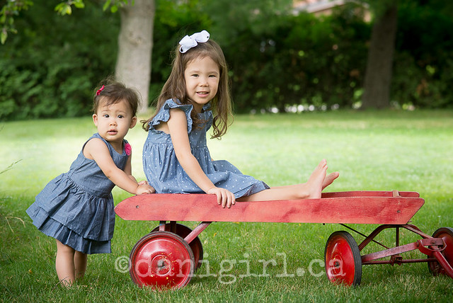 Cuties on a red wagon