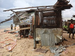 Residents of West Point, Liberia, hope that one day they will be relocated from the beach as the continuous environmental degradation has resulted in most of the land eroding into the Atlantic Ocean. Credit: Wade Williams/IPS