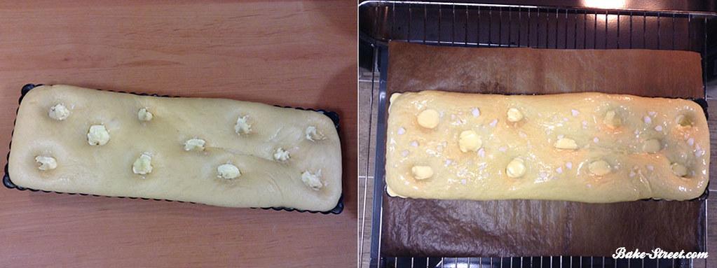 Hacemos los agujeros, introducimos la mantequilla en ellos, pintamos y al horno