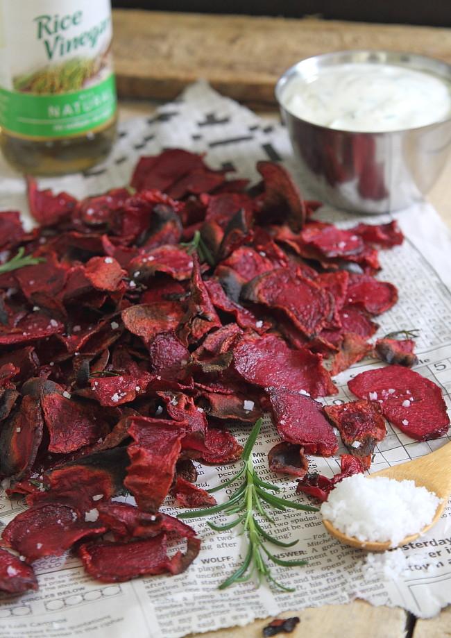 Rosemary sea salt and vinegar beet chips with roasted garlic yogurt ...