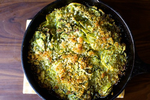 summer squash gratin with gruyere and salsa verde