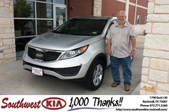 #HappyAnniversary to Donald Mccullum on your 2013 #Kia #Sportage from Mauricio Pena at Southwest KIA Rockwall!