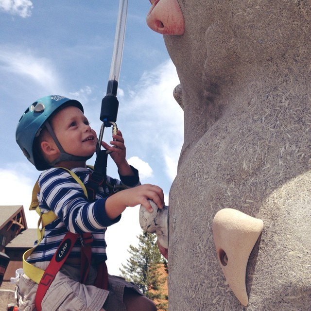His first time climbing! So proud of this little man! #rockclimbing #bigsky #montana