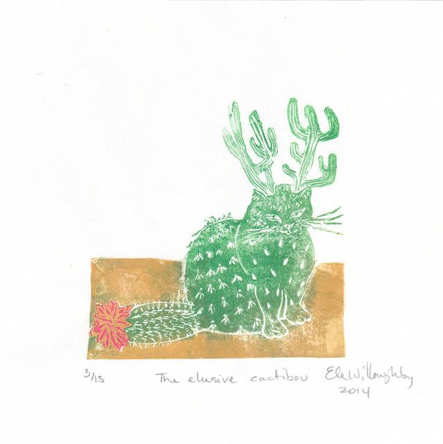 The elusive cactibou linocut