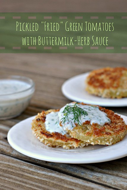 Pickled Fried Green Tomatoes with Buttermilk-Herb Sauce 1