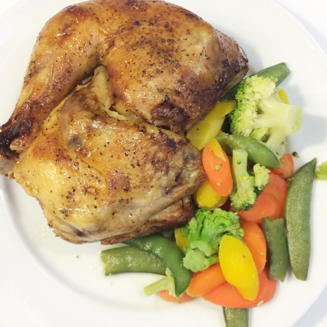 Day 28, #whole30 - dinner (ikea cafeteria: roasted chicken & veggies)