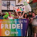 """Everyone has the Right to Pride"" - Oxfam marching in the World Pride Trans March."