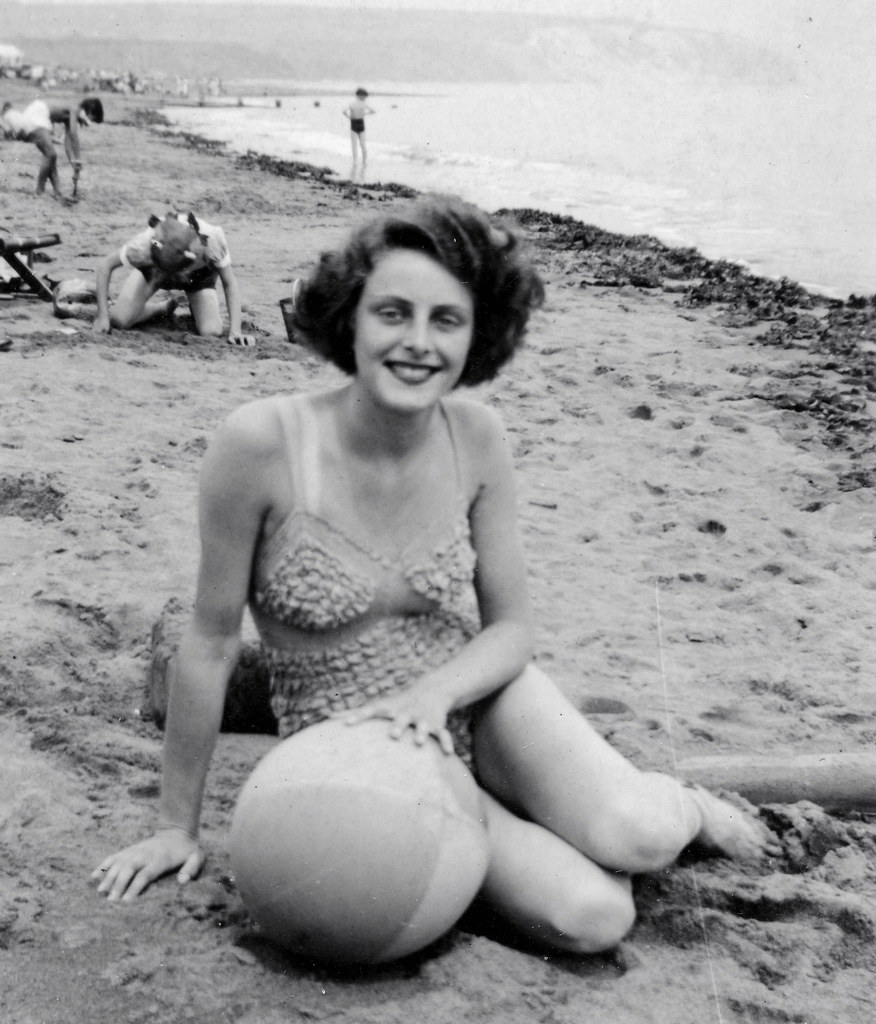 Beautiful 50s lady at the beach