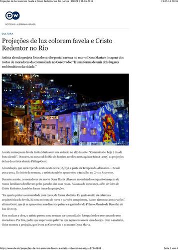 Projeções de luz colorem favela e Cristo Redentor no Rio | Artes | DW.DE | 16.05.2014-1