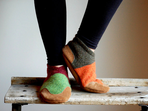 recycled slipper pattern by woolbaby