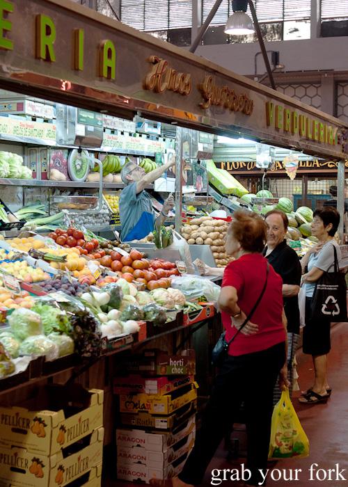 Fruit and vegetables stall at Mercado de la Cebada in Madrid, Spain