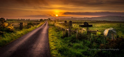 road morning ireland sun mist mountains nature clouds rural sunrise landscapes countryside scenery skies ngc farming northernireland tyrone irishlandscapes uklandscapes