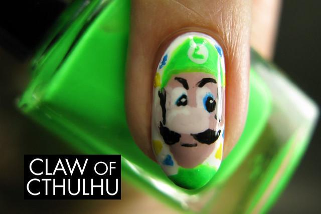 Mario Kart 8 Luigi Death Stare Nail Art