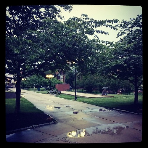 Dodging the rain drops at Lytle Park in downtown Cincinnati.,,