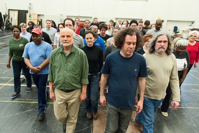 The community ensemble in rehearsals for Dialogues des carmélites © Stephen Cummiskey