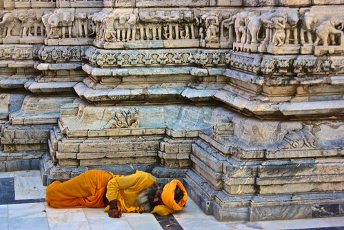 A Sadhu sleeps by the Jagdish Mandir