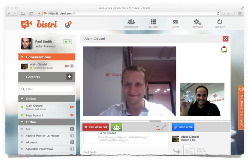 WebRTC IE & Safari Plugin on Bistri 1-on-1 Video Call