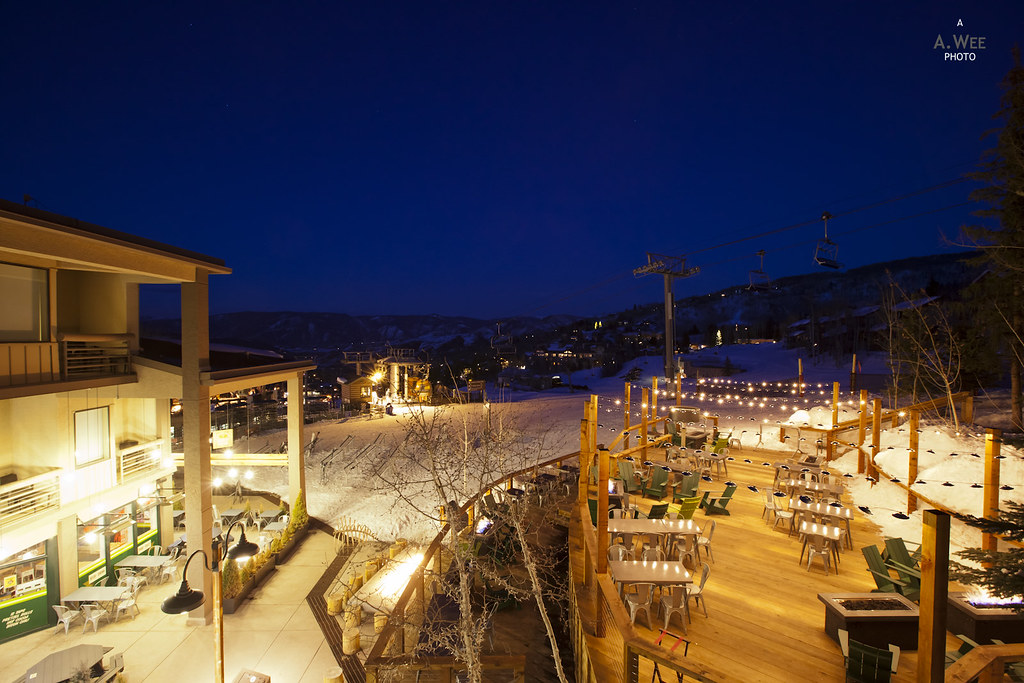 Terrace of Westin Snowmass at Night