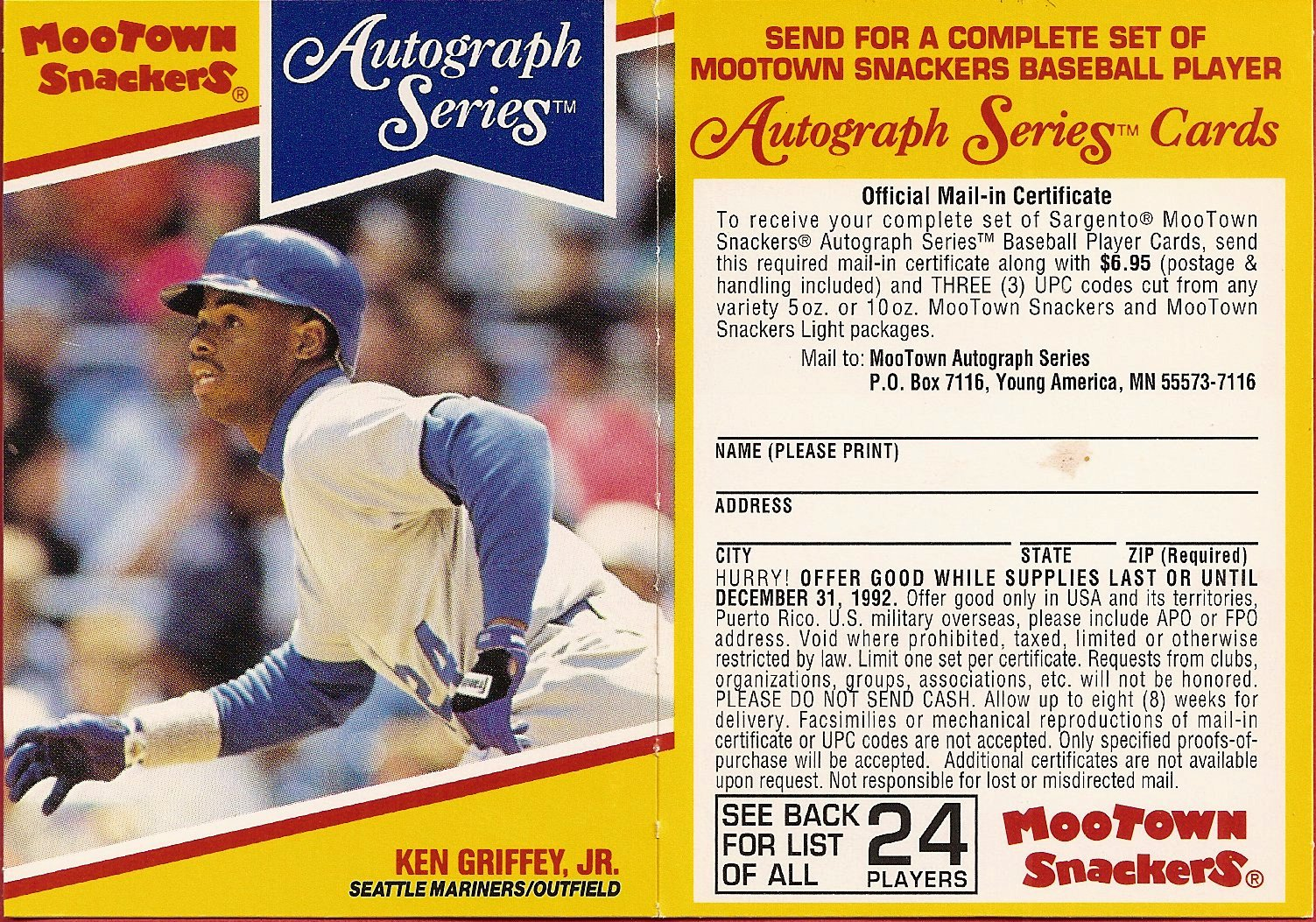 1992 Mootown Snackers with Tab (Griffey)