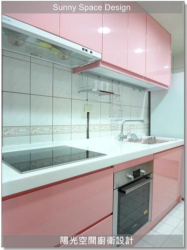 廚具大王-作品190-淡水新民街粉紅色廚具-陽光空間精品廚具