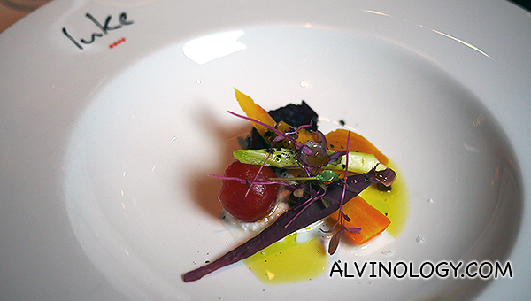 Baby vegetables, goats curd, ginger bread crumbs, dried black olives - $31++