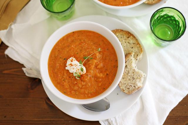 Roasted Summer Vegetable Soup | girlversusdough.com