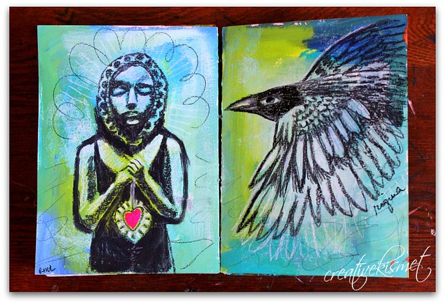journal page: girl with heart and bird by Regina Lord