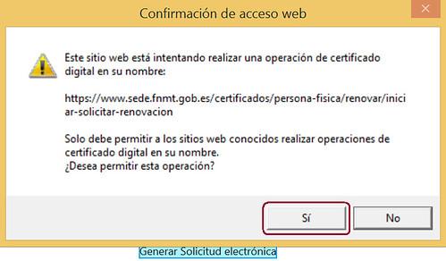 Renovar certificado - Confirmar operación