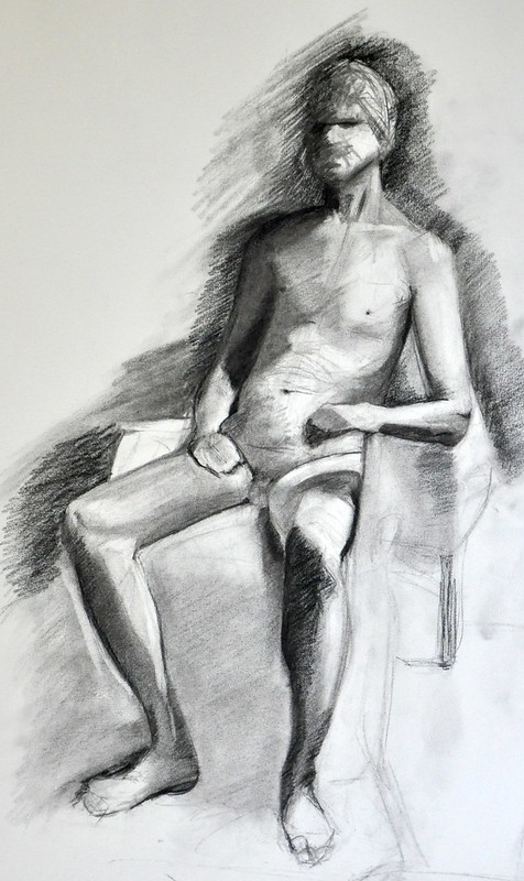 figure drawing in charcoal, long pose