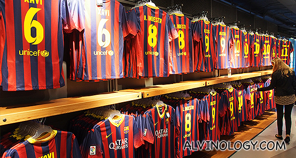 Iconic blue and red stripes jersey. Guess which players' jerseys are stocked the most?