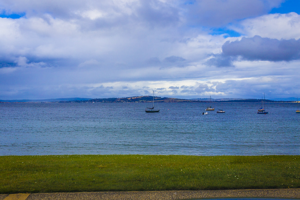 Moody skies on Hobart's bay