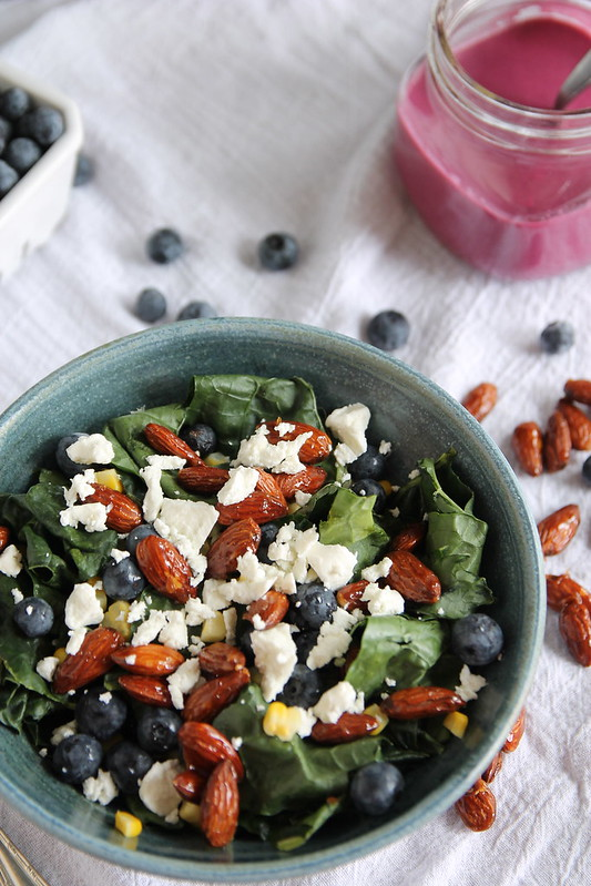 Massaged Kale Salad with Blueberries and Goat Cheese