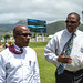 Deputy Prime Minister the Hon. Dr. Earl Asim Martin the Minister of Sports the Hon. Glenn Phillip surveying upgrade work at Warner Park