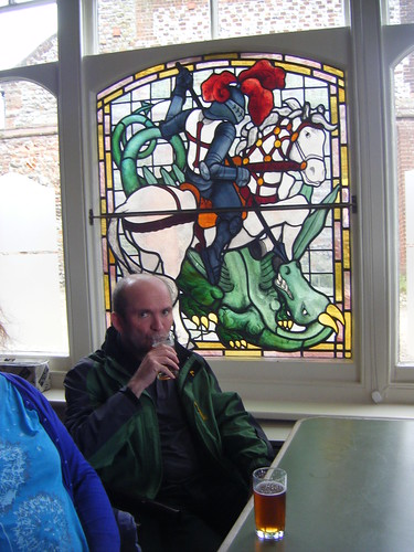 Nice George and the Dragon Window - oh and DP supping a beer