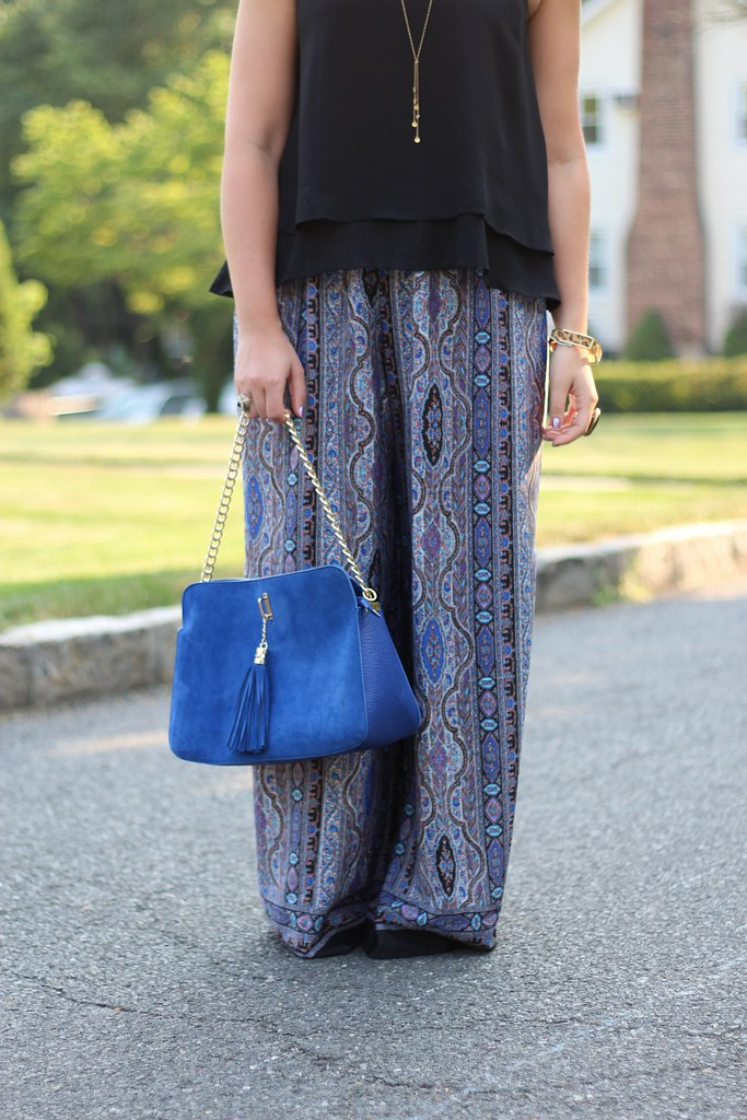Blue Printed Wide Leg Pants | Casual Outfit | #LivingAfterMidnite
