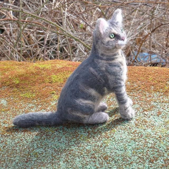 Gourmet Felted / Needle Felted CAT  / Custom Pet Portrait Sculpture / Tabby Charlotte