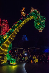 Main Street Electrical Parade in Disneyland with Matterhorn in background