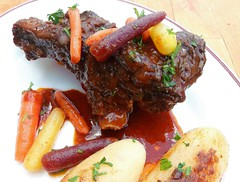 BRAISED BEEF BACK RIBS WITH GLAZED BABY RAINBOW CARROTS