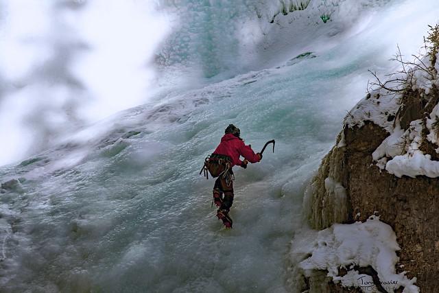climbing Johnston canyon